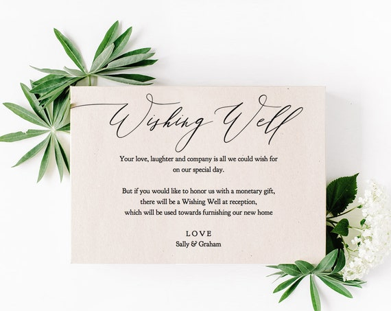 "Wishing Well Card Template Printable Wishing Well Card Wedding Wishing Well 5x3.5"", ""Wedding Greenery"" Editable PDF"