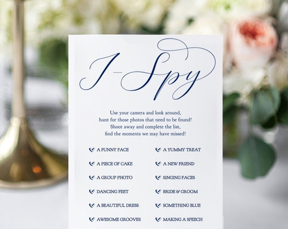 "Navy I Spy Hashtag Sign, Printable Wedding I Spy Game 4x9"", 8x10"" and 5x7"", ""Beautiful"" Wedding Signage. Editable PDF"