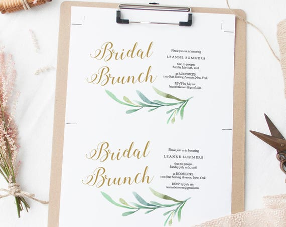 "Bridal Brunch, Bridal Brunch Invitation, Bridal Shower, Bridal invitation printable, Bridal Shower template, Greenery, 5x7"". Editable PDF"
