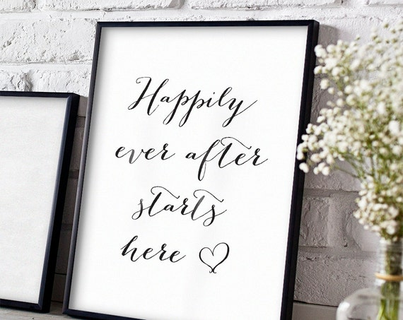 Happily ever after wedding sign, 8x10, 4x6, 8.5x11 and A4 sizes included. printable wedding sign. Sweet Bomb.