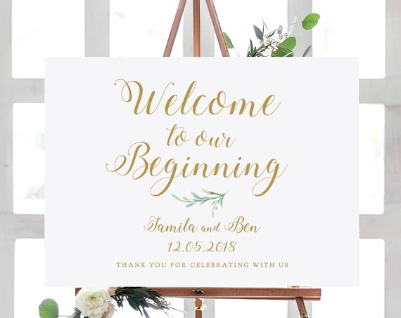 "Welcome to our Beginning Wedding Sign Printable, Greenery Welcome Wedding Printable Signs 18x24"" and A2 sizes. Editable PDF"