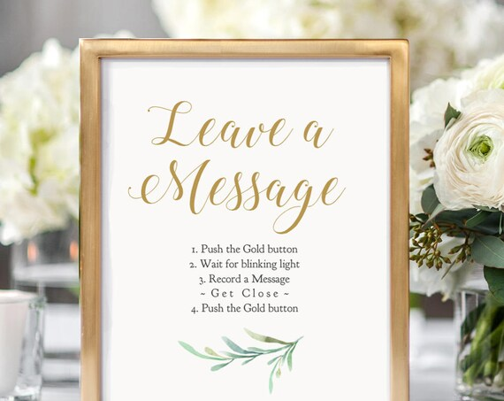 "Video Message Sign GoPro, Wedding Guests Leave a message sign, 8x10"", Greenery, Wedding Signage. Editable PDF"