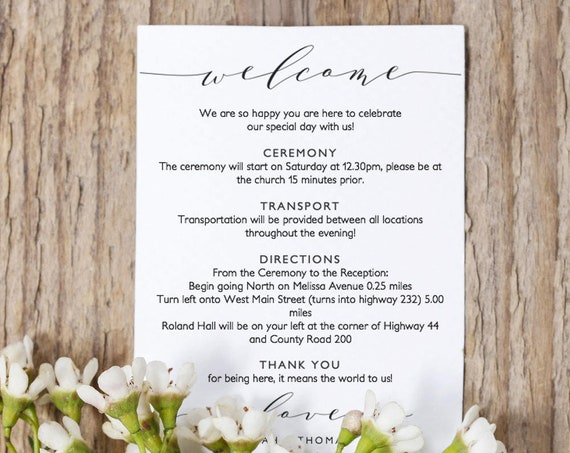 "Welcome Itinerary 5x7"" & 6x6"" Wedding Guest note, Welcome letter template, ""Wedding"" printable wedding welcome, Edit in WORD or PAGES"
