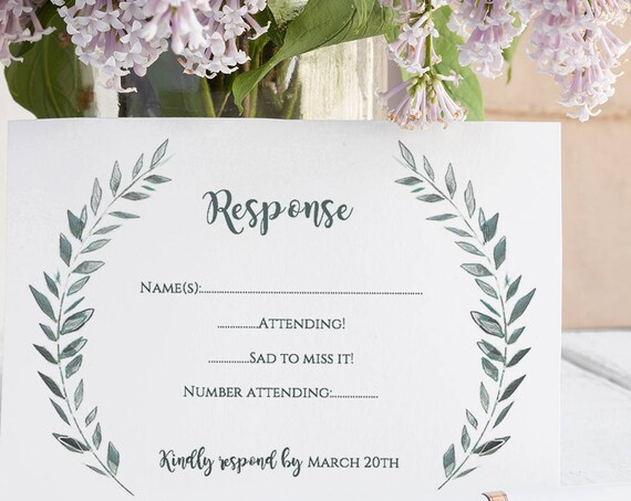 Wedding rsvp and information card templates printable rsvp and details card | Leaves wreath | Royal Gardens | Editable printable template