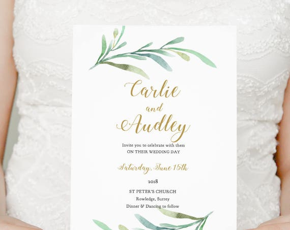 Wedding Invitation template set printable Wedding, Greenery, template Invitation suite | RSVP info card | Any colour | Edit in WORD or PAGES