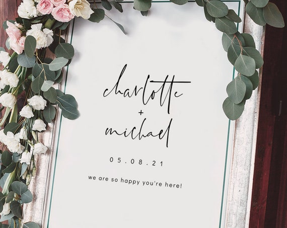 Moderna - Wedding Welcome Sign, Modern Minimalist Welcome Signs in 6 Sizes, Printable Templates, Corjl, FREE Demo