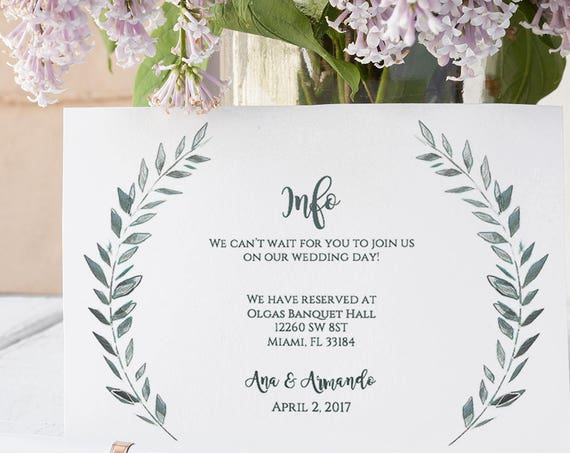 Wedding enclosure card template rustic printable information card | Leaves wreath | Royal Gardens | Editable printable