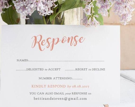 Coral Wedding rsvp card template, printable response card template, RSVP printable, Bettie, any colour | Enclosures