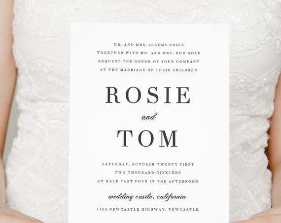 Printable Wedding invitation, elegant and classic wedding invitations. Invitation template. 'Rosie'. Edit in Word or Pages