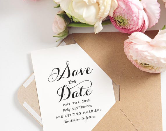 Printable Save the Date Card, Byron, Wedding Save the Date card Template, Edit in WORD or PAGES