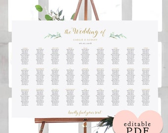 Greenery wedding seating chart table plan templates | 10 sizes included, Portrait + Landscape shaped PDF templates included. Edit in ACROBAT