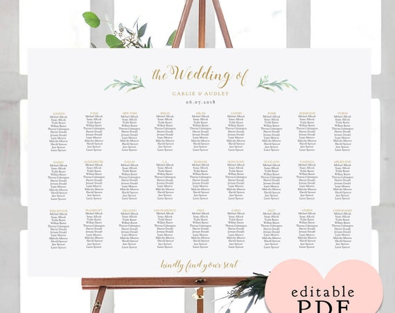 Greenery wedding seating chart table plan templates | 10 sizes included, Portrait + Landscape shaped PDF templates included. Editable PDF