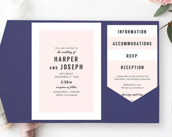 Pocket Invitations, wedding pocketfold invitation printable templates DIY | Harper Invitation Template any colours | Edit in WORD or PAGES