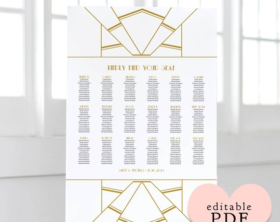 Gold Art Deco table seating plan template. Tables or Alphabetical. Editable PDF, sizes: A0, A1, A2, 18x24, 24x36. Editable PDF Reader.