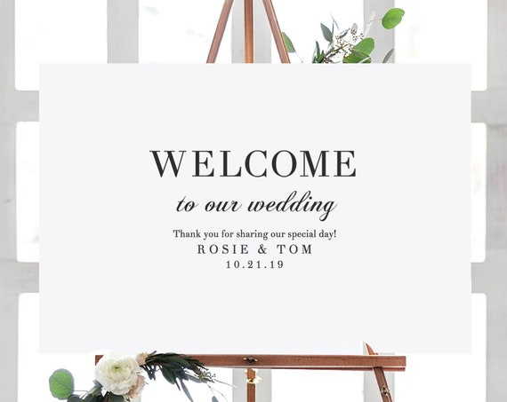 "Welcome Wedding Sign Printable. Printable Welcome Sign Template, ""Rosie"" Wedding Welcome, 18x24"", 24x36"", A2 & A1 sizes, Editable PDF"