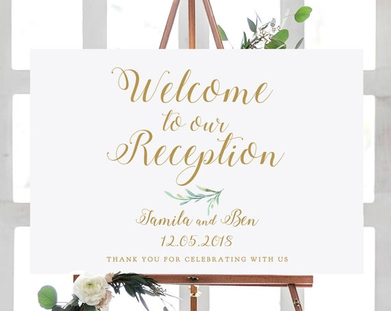 "Welcome to our Reception Sign Printable, Greenery Welcome Reception Printable Signs 18x24"" and A2 sizes. Editable PDF"