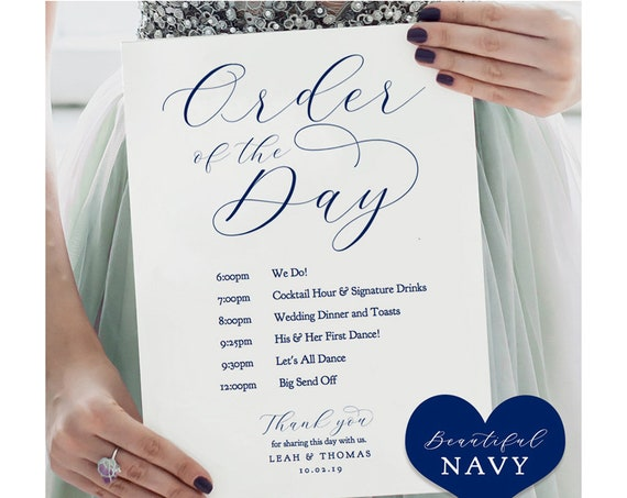 "Navy Blue Order of the Day Sign, Printable Events Order of the Day Wedding Sign ""Beautiful"" Printable Sign 4 sizes included, Editable PDF"