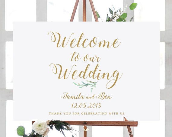 "Welcome to our Wedding Sign Printable, Greenery Welcome Wedding Printable Signs 18x24"" and A2 sizes. Editable PDF"