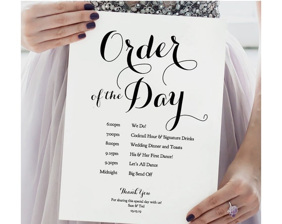 "Order of the Day Wedding Sign 'Byron', 11x17"", 8.5x11, A3 and A4 sizes included, DIY printable template, Edit in WORD or PAGES"