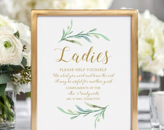 "Bathroom Basket Sign, Printable Wedding Basket Sign Ladies and Gentlemen Signs ""Greenery"" 5x7"" & 8x10"" Corjl or Download and Print"