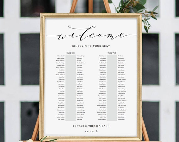 "2 Table Seating Plan, Printable Portrait Seating Plan Template, Printable Template, ""Wedding"", 6 sizes included Editable PDF"