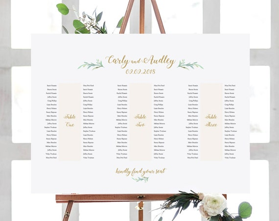 "Banquet Table Seating Plan 3 Long Tables, Printable Banquet Table Plan ""Greenery"" 24x36"" and A1 sizes included Editable PDF"