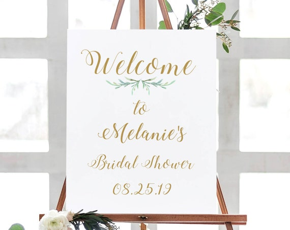 "Bridal Shower Welcome Printable Bride Sign Printable Welcome to Bridal Shower Sign 18x24"" and A2, Greenery Shower. Editable PDF"