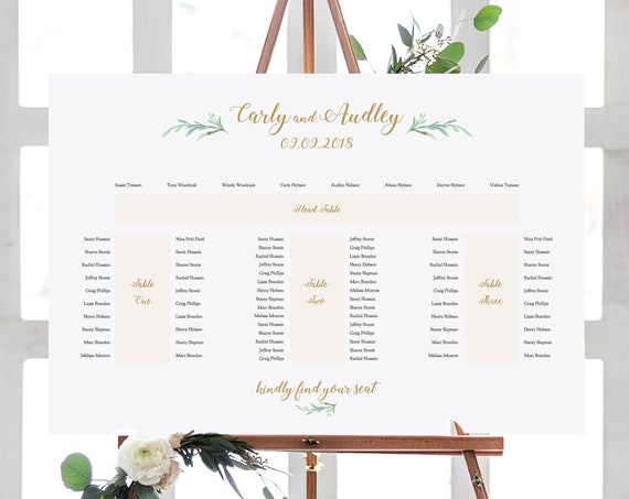 "Banquet Seating Plan, E Shape, Printable Template, 4 tables: Head table + 3 banquet tables, ""Greenery"" 24x36"", A1 sizes, Editable PDF"