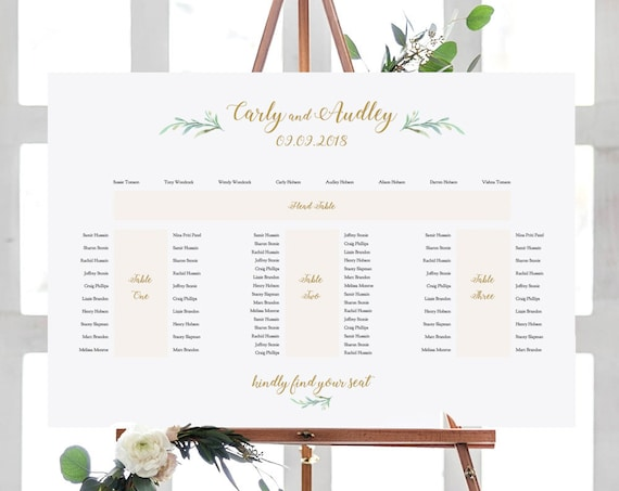 "Banquet Seating Plan, E Shape, Printable Template, 4 tables: Head table + 3 banquet tables, ""Greenery"" 24x36"", A1 sizes, Edit in ACROBAT"