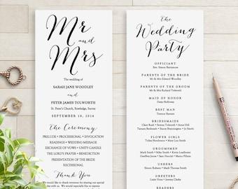 Wedding Programs Instant Download Template. Sweet Bomb. Edit, Print, Trim, DIY Editable Printable Template, Corjl Template, FREE Demo