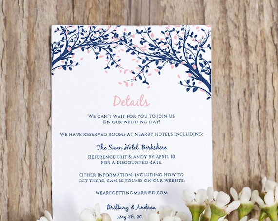Details Information Printable Template Instant Download | Any colour | Leaves Wedding | Edit in WORD or PAGES