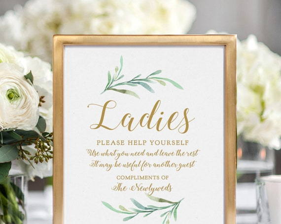 "Bathroom Basket Sign, Printable Wedding Basket Sign Ladies and Gentlemen Signs ""Greenery"" 5x7"" & 8x10"" Download and Print"