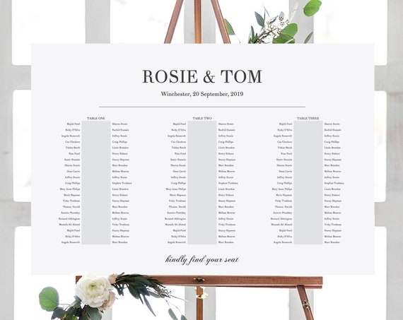 "3 Banquet Tables, Elegant Printable Seating Chart 3 Long Tables, ""Rosie"", 24x36"", A1 sizes included Edit in ACROBAT"