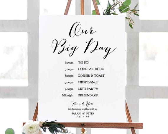 "Our Big Day Wedding Order of Events Printable Sign in 5 sizes, ""Sweet Bomb"" Corjl Template, FREE Demo"