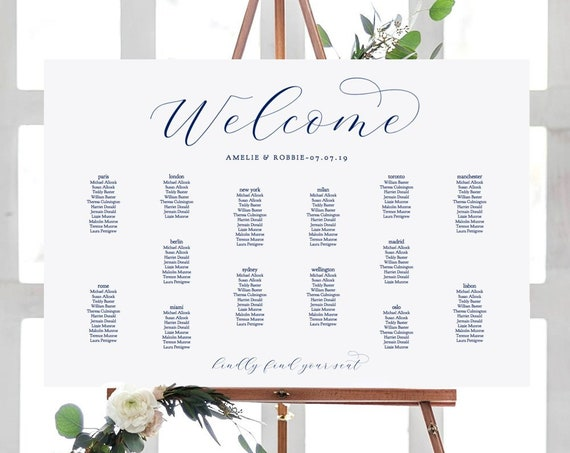 "Navy Wedding Seating Chart Template, DIY Printable wedding seating plan ""Beautiful"" 18x24"", 24x36"", A1, A2 sizes included, Editable PDF"