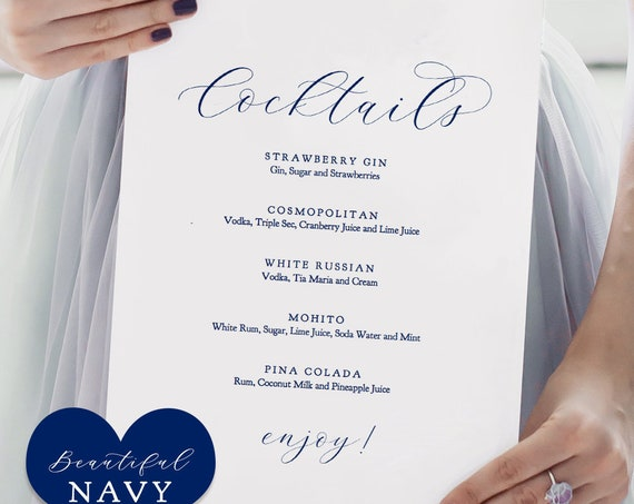 "Navy Cocktail Menu, Printable Cocktails Menu Wedding Sign ""Beautiful"" 8x10"" Editable PDF"
