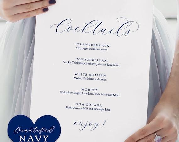 "Navy Cocktail Menu, Printable Cocktails Menu Wedding Sign ""Beautiful"" 8x10"" Edit in ACROBAT"