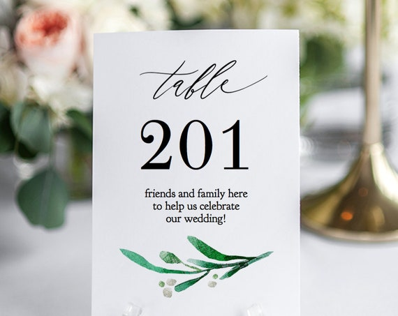 "Unique Table Numbers, Story DIY Table Number Printable Template, 5x7"" Printable ""Wedding Greenery"" Editable PDF"