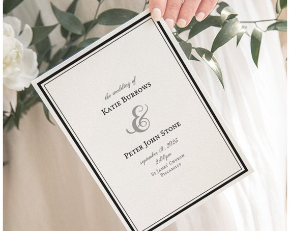 Wedding Program Order of Service Booklet with Border, Wedding Program Template, folded, 'Piccadilly' Corjl Template, FREE demo