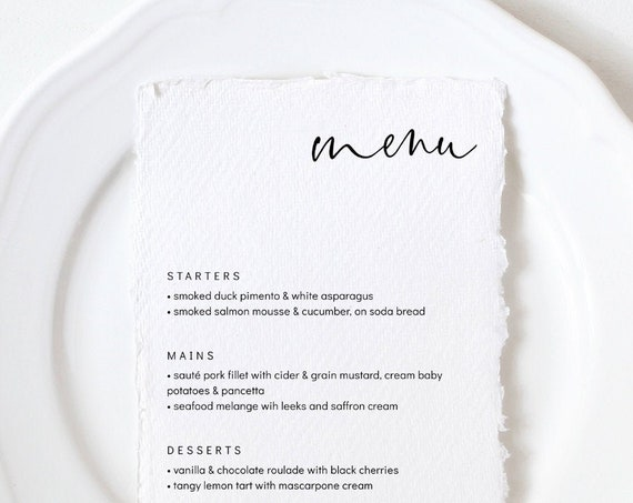 "Moderna - Modern Minimalist Menu, Elegant and Modern Wedding Menu, Printable Menu Template, 5x7"", 4x9"", 8x10"" & A5, Corjl, FREE Demo"