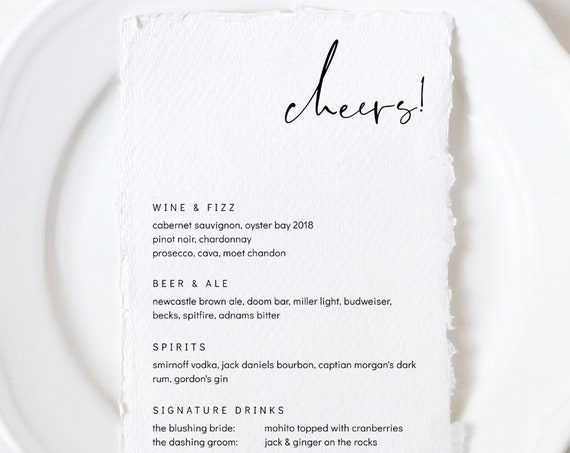 "Moderna - Modern Minimalist Bar Drinks Menu, Cheers, Printable Bar Menu Template, 5x7"", 4x9"", 8x10"" & A5, Corjl, FREE Demo"