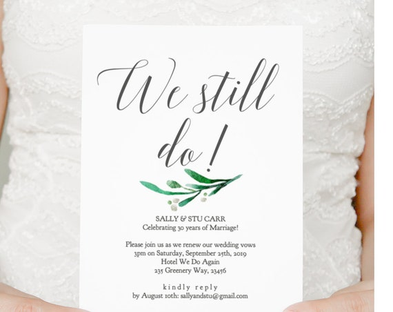 Wedding We Still Do Vow Renewal Invitation Template, We Still Do, DIY Printable Invite for your Vow Renewal 'Amelie', Editable PDF