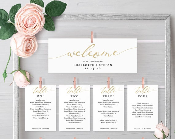 LucyChampagne - Champagne Gold Hanging Seating Chart Templates, or fix the printable cards to an object, instantly download Editable PDF