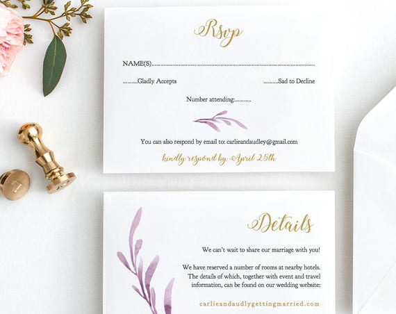 Lilac Wedding Invitation Set Templates, Printable Wedding Invitations, Rsvp and Details cards 'Lilac Wedding' Edit in WORD or PAGES