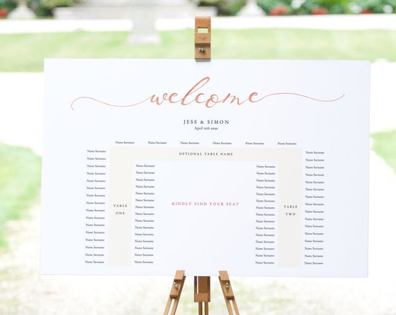 LucyRose - U Shape Table Seating Plan, Wedding Banquet Printable Template, DIY Wedding, Instant Download, Rose Gold EFFECT, Editable PDF