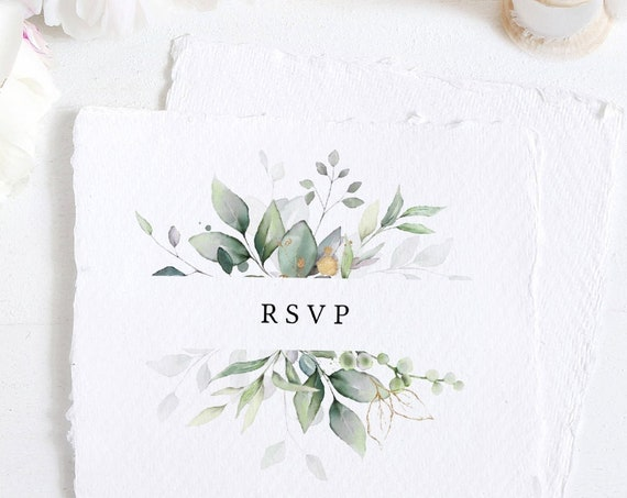 "Leaf & Gold - Wedding RSVP Card, Wedding Reply, Beautiful Greenery Printable RSVP Card Templates, 4x5.5"", A6, Corjl FREE Demo"