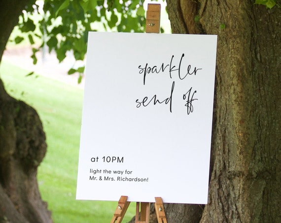 "Modern - Sparkler Send Off, Sparkler Exit, Light the Way Sign, 16x20"" & 18x24"" Corjl FREE Demo"