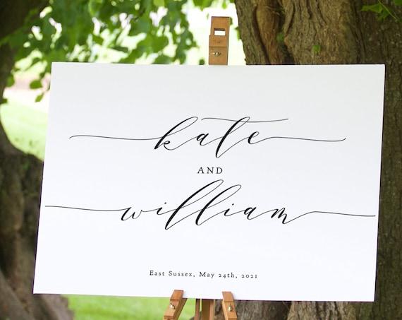 Bride and Groom Names Welcome Sign, Wedding Welcome Sign Template, Printable Welcome Sign Wedding, Corjl Wedding Sign