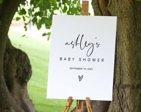 Minimalist Baby Shower Welcome Sign Template, Simple Baby Shower Sign, 4 sizes, Corjl Template, FREE demo | 86