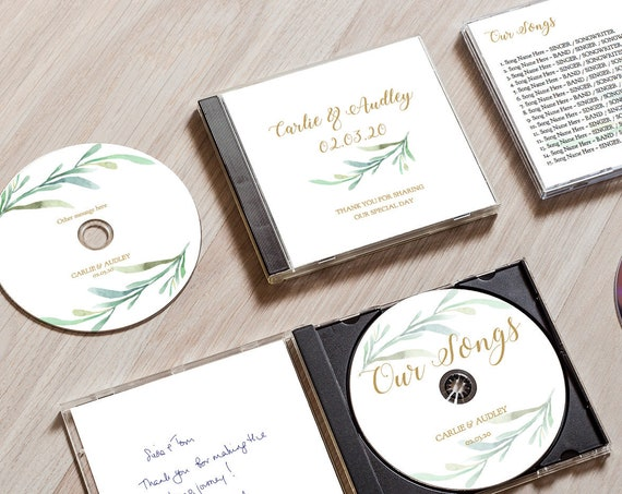 CD Cover Template, Printable cd Wedding Favors, DIY Template, Case and Disc templates included, Editable PDF
